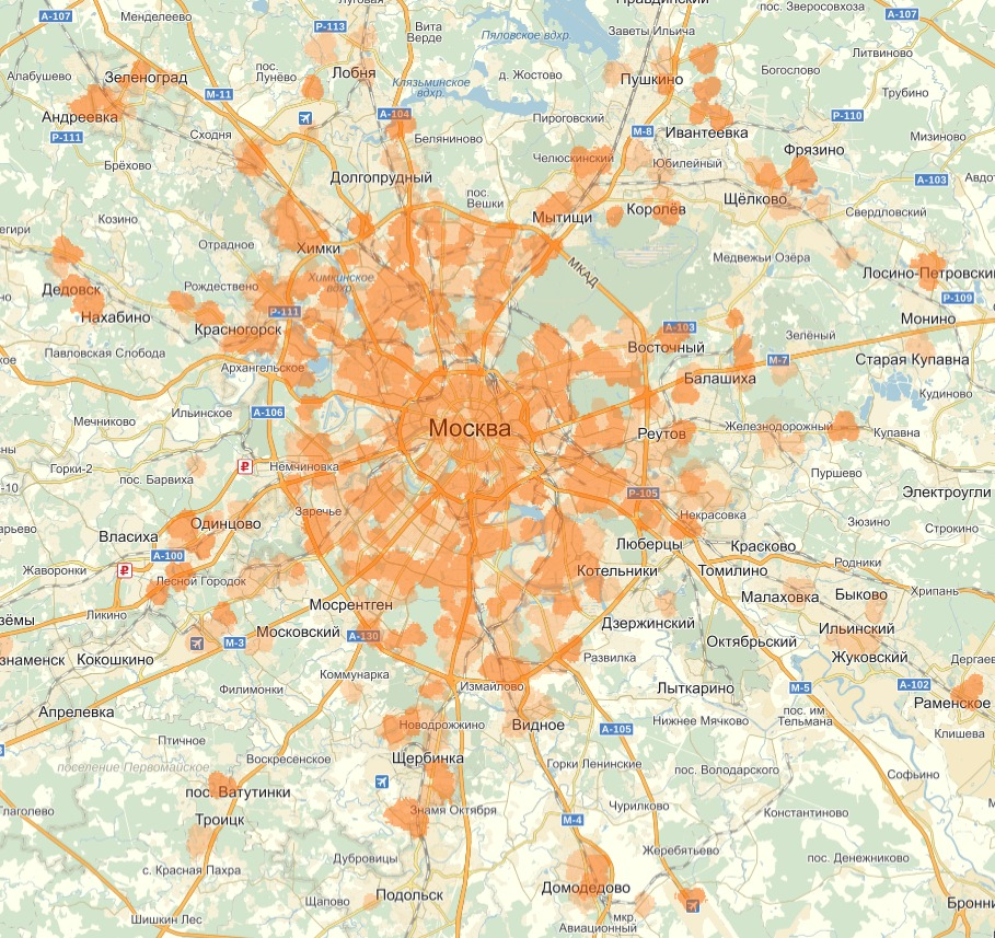 Карта покрытия теле2 в москве и московской
